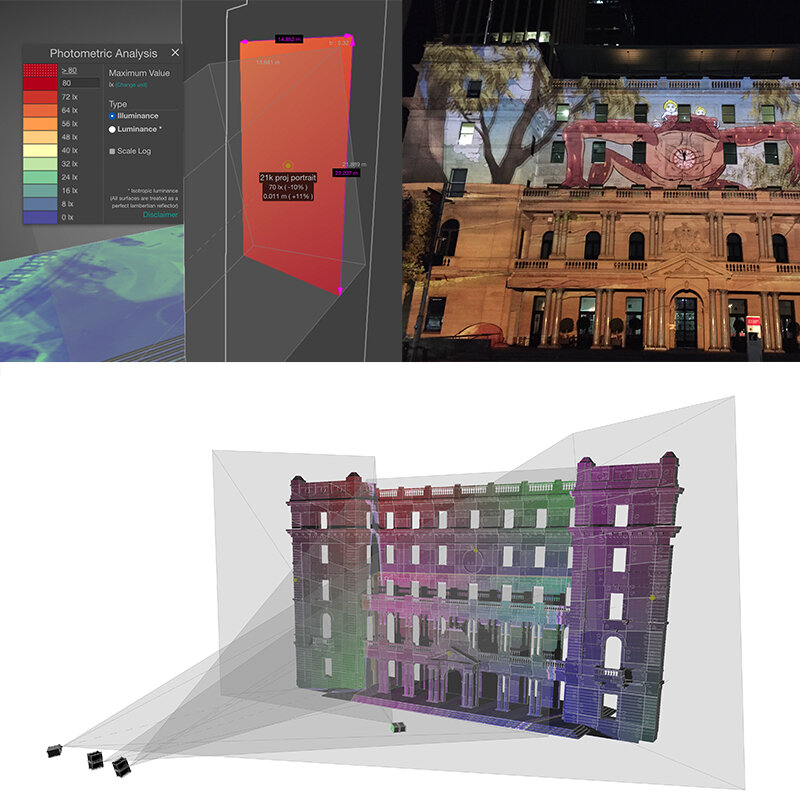 Projection Mapping & Technical Design Consultation - Using the latest advances in pre production technology we pride ourselves on accurate projection studies and design so you can be confident in what will be delivered as a final product.Our technical deigns have been seen at Vivid Sydney, White Night Melbourne, Adelaide Festival, , Yuejin Lantern Festival Taiwan, Melbourne Christmas Projections and numerous corporate and digital art installations with complex mapped projections.