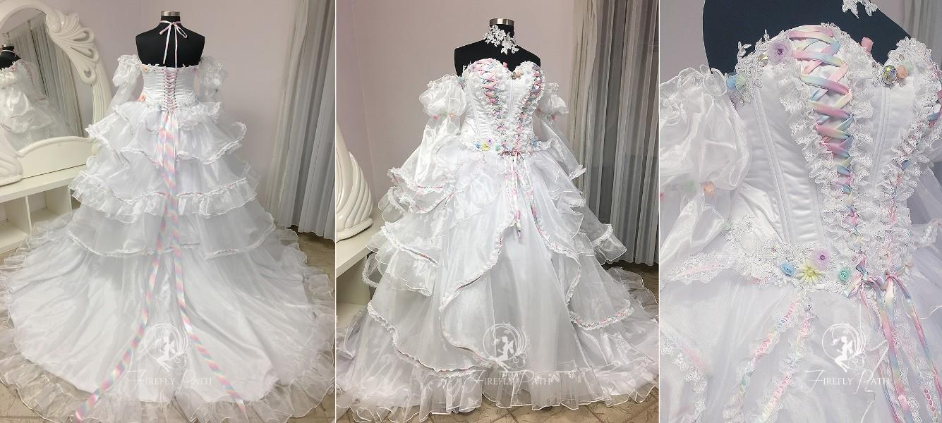 Pastel Ruffel Bridal Gown
