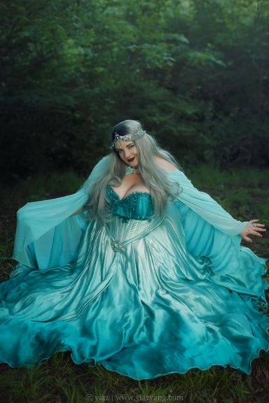Teal Elven Bridal Gown & Cape
