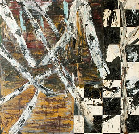 Indsats/udfald. Væltende birkestammer, 1984, olie og vinyl på lærred