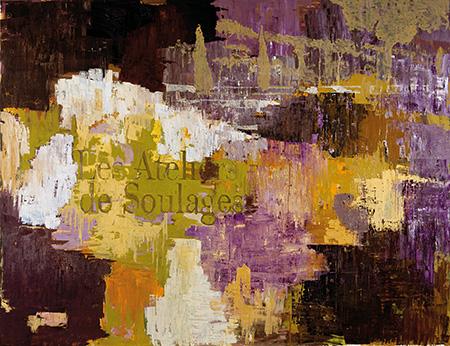 Atelier/studio/landscape. Purple/green/orange, 2009-2010, olie på lærred