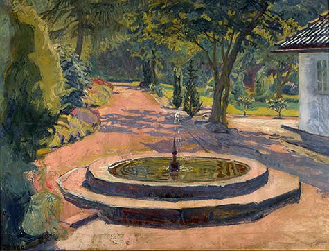 Springvandet i haven på Møllebakken, 1920