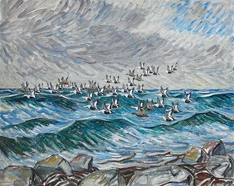 Knud Kyhn: Flyvende edderfugle. 1945