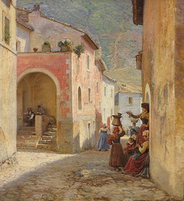 Peter Tom-Petersen: Gade i Civita d Antino. 1892. Faaborg Museum