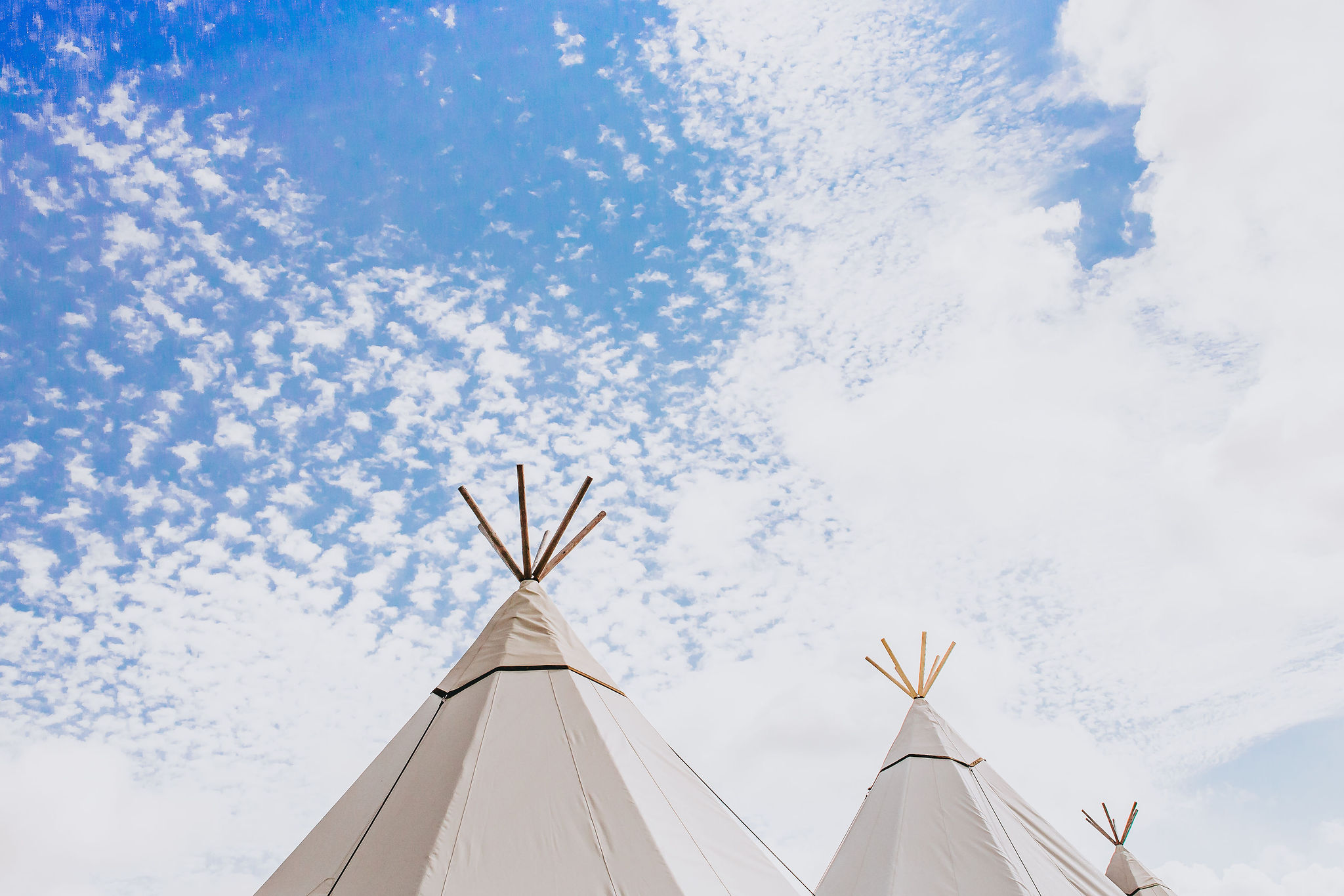 Peaks of our white canvas tipis