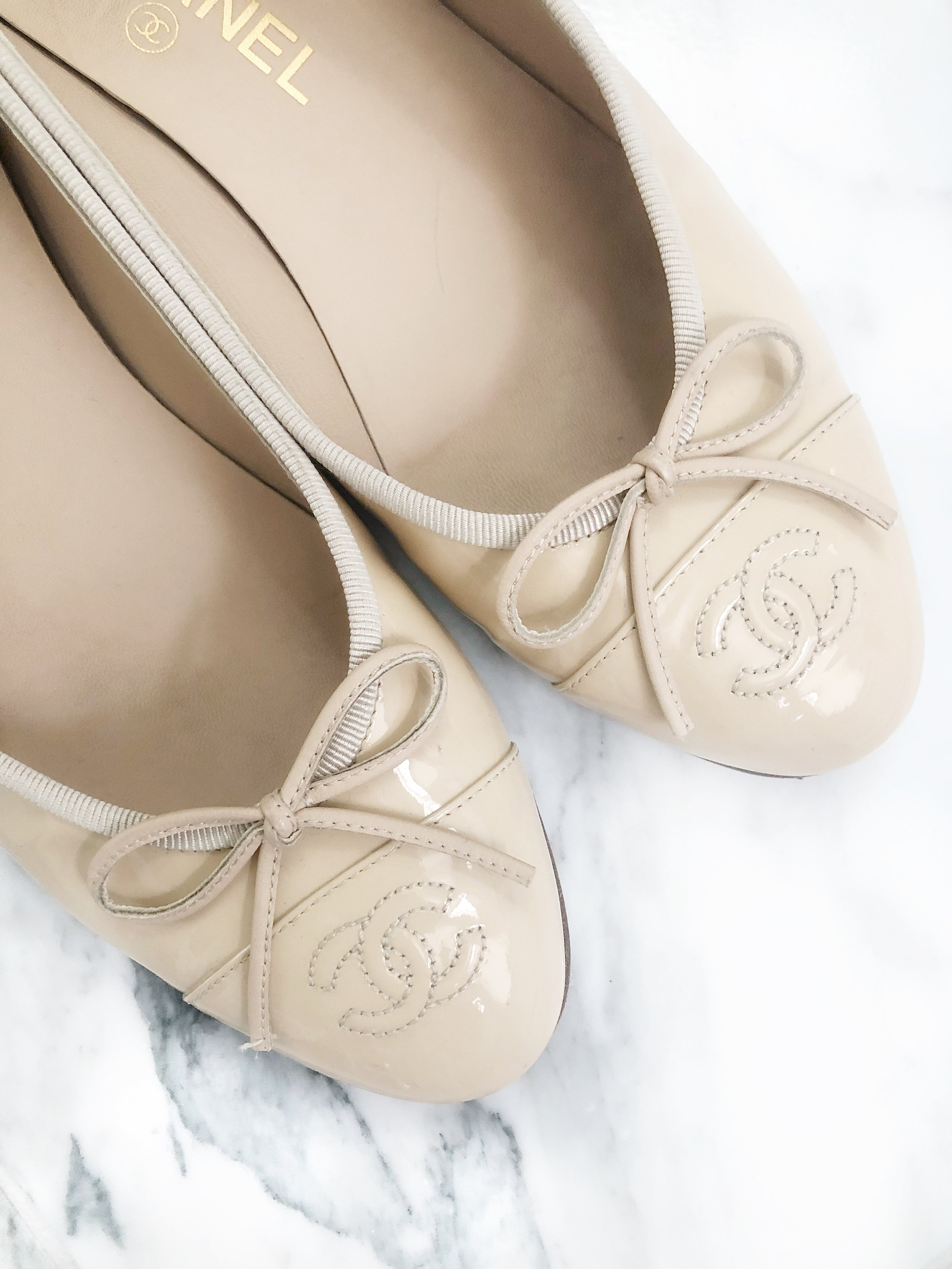 Cream Patent Chanel Ballet Flats