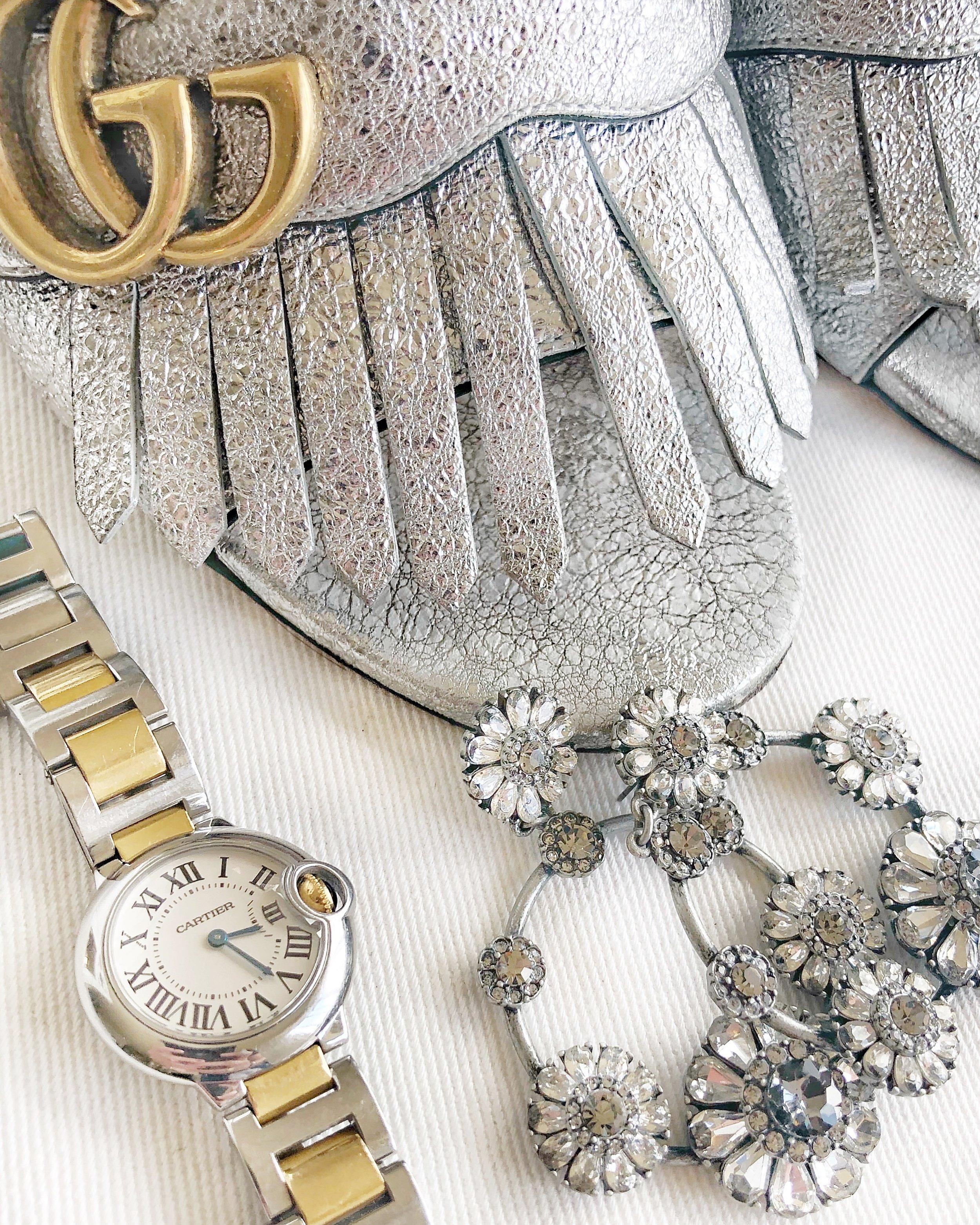 Gucci Marmont Silver Heels Cartier Ballon Bleu and Sparkle Earrings