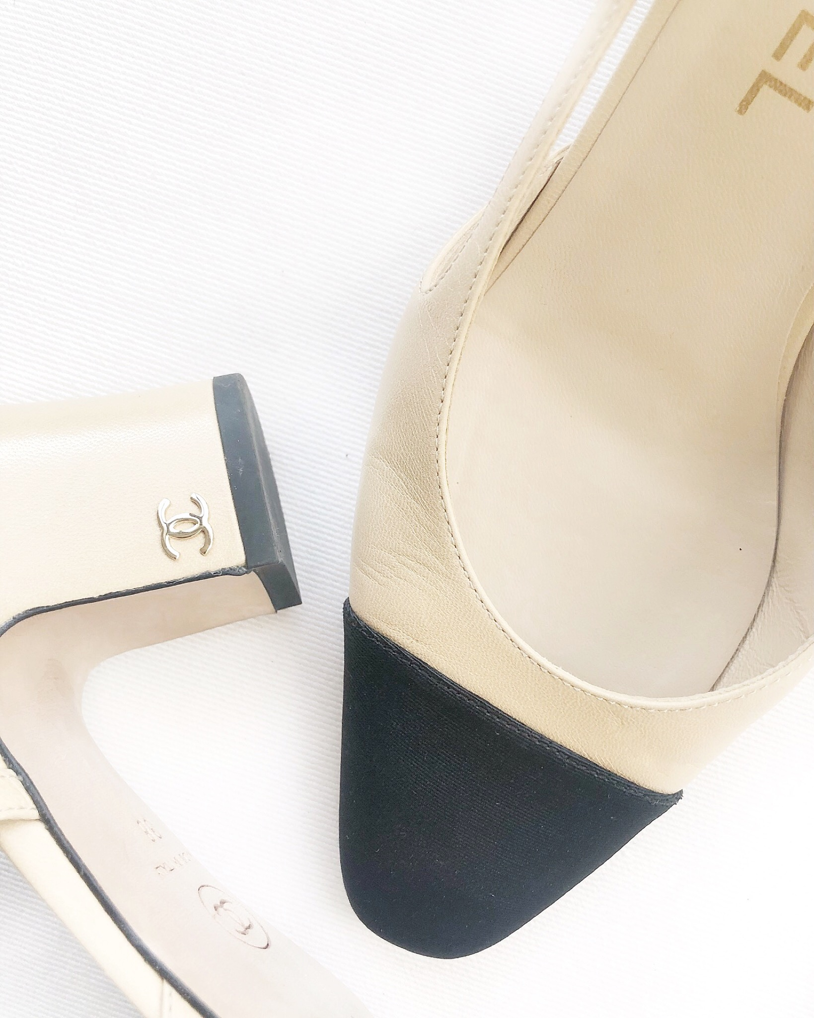 Chanel Nude and Black Leather Sling Back