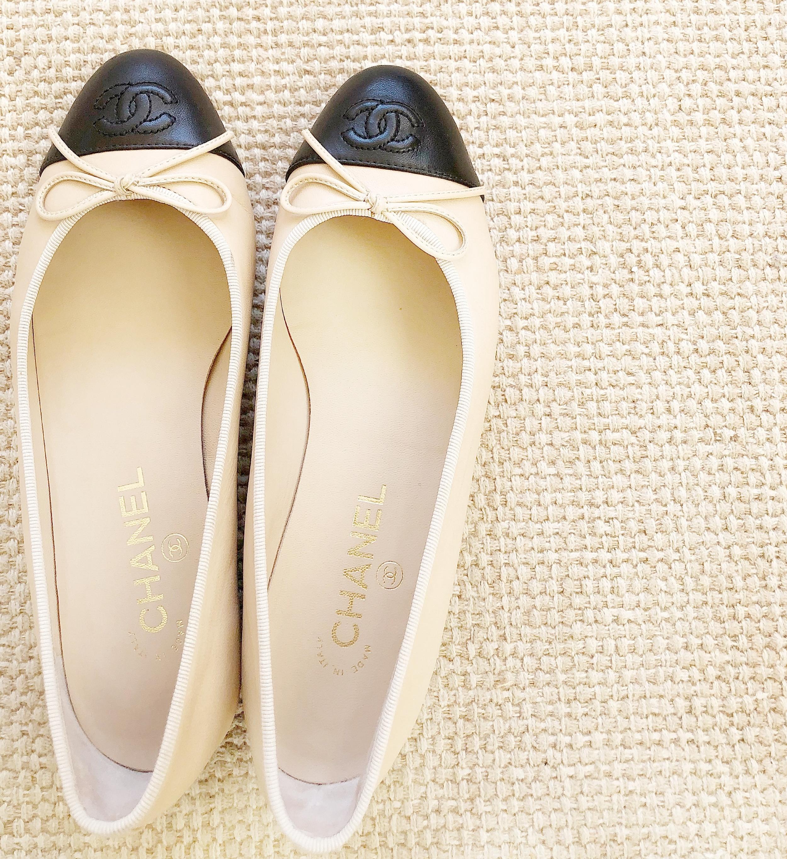 Beautiful Chanel Designer Cap Toe Ballet Flats