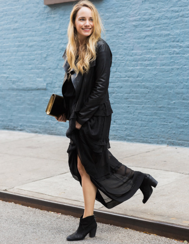 Interview with The Stripe- Grace Atwood in all Black Leather outfit in brooklyn in street style