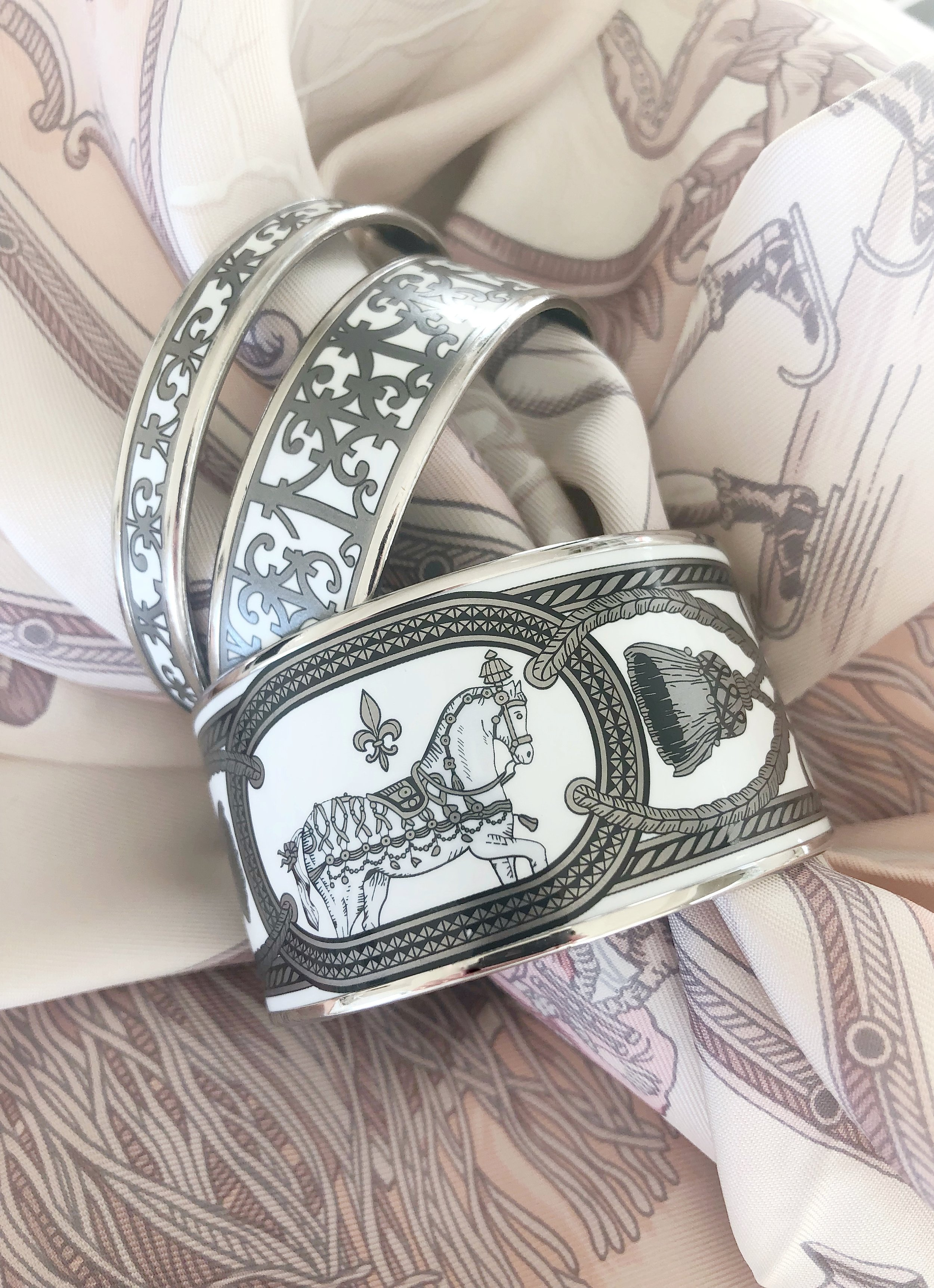 Hermes Enamel Bracelet and Hermes Pink Scarf