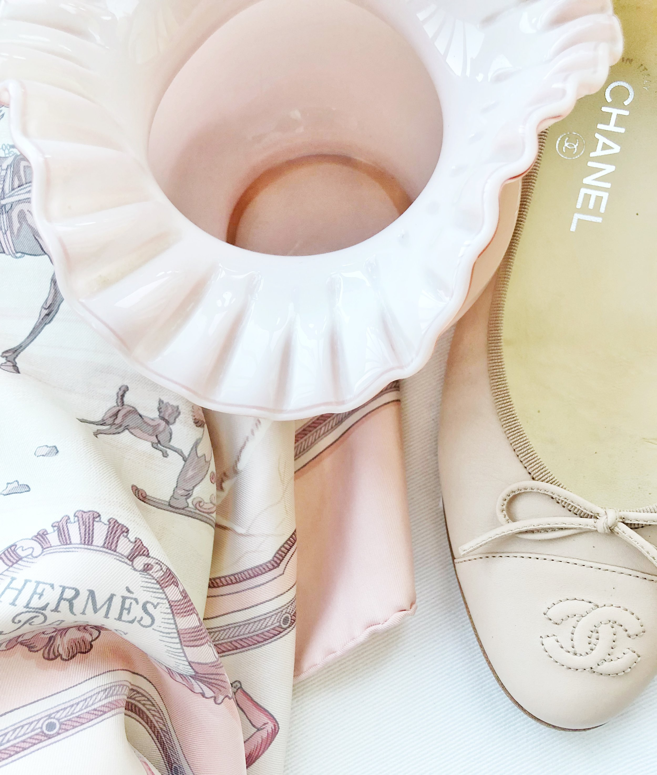 Hermes Scarf & Chanel Ballet Flats Paired with a $2 Vintage Vase
