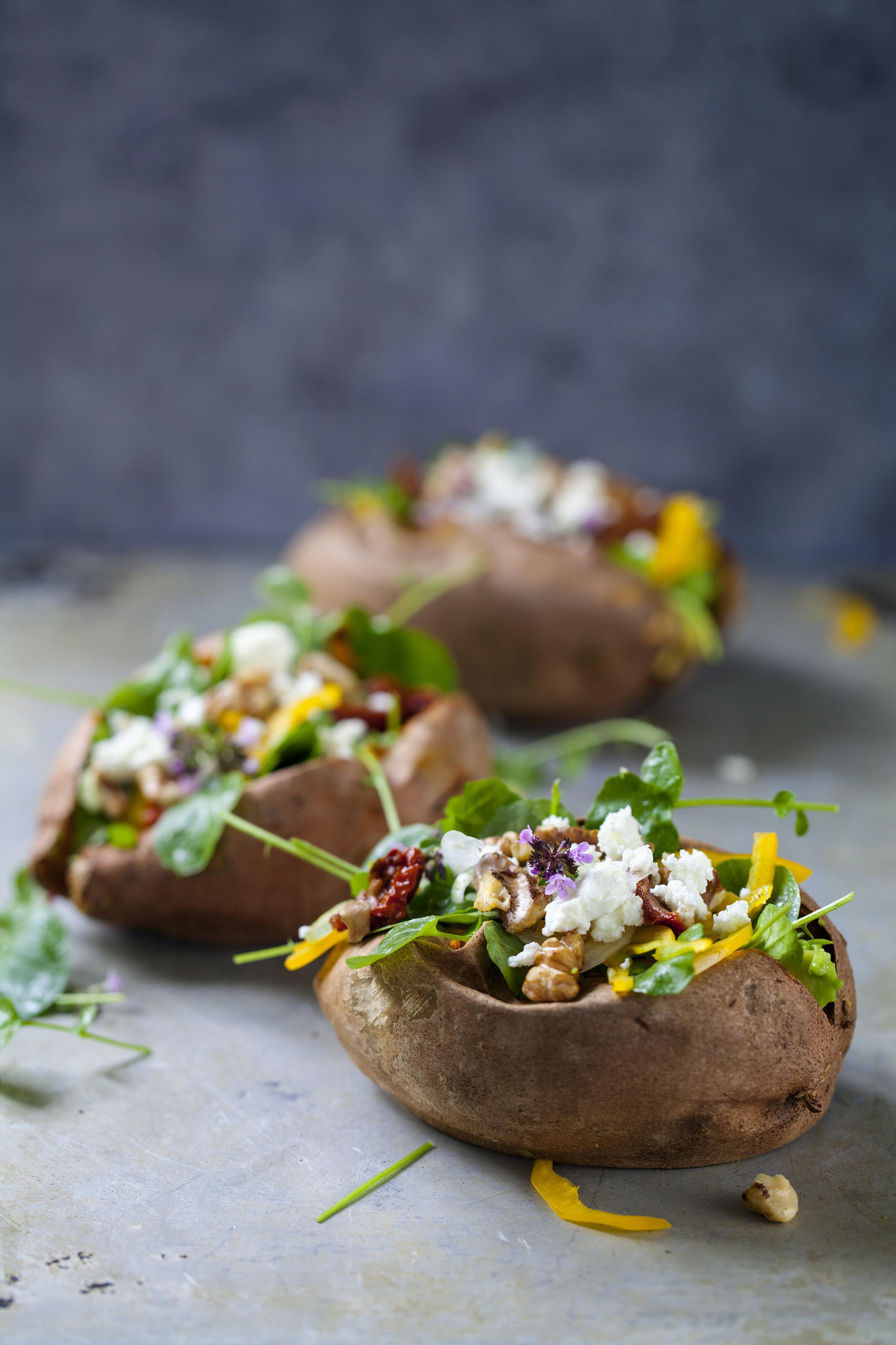 Baked sweet potato veggie galore