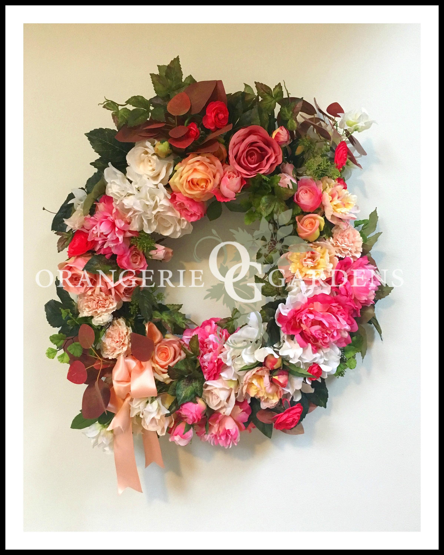 Cottswold Cottage Garden Pink Wreath