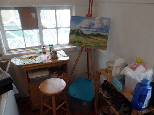 The first painting in the first studio space. The non-insulated porch space meant I painted with a lot of layers on for those early pieces.