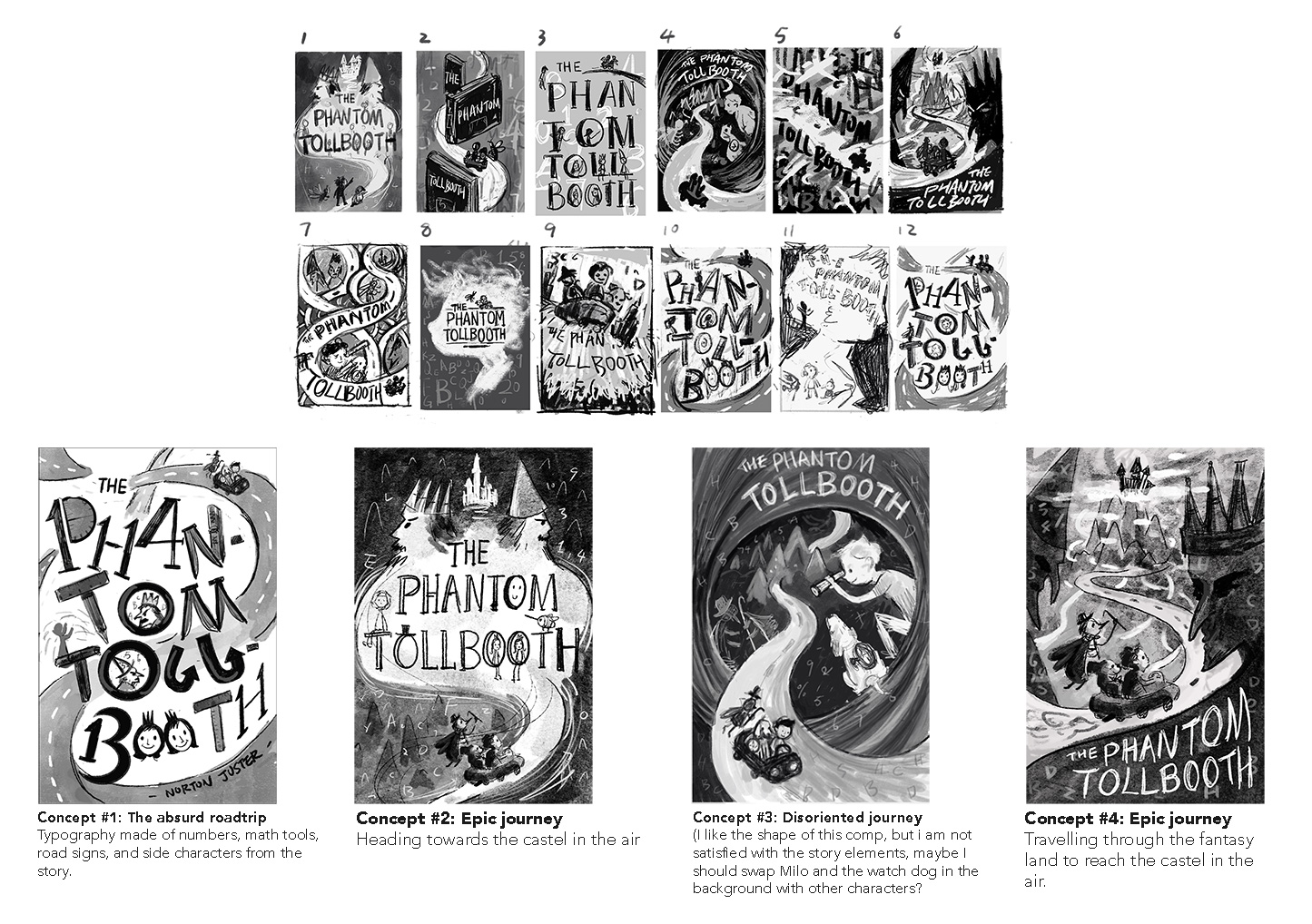Thumbnails and rough sketches for the book cover.