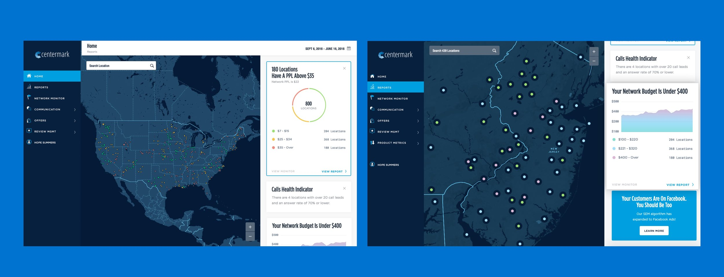 Designers learned that multi-location business owners wanted to created deep visibility into their marketing campaigns. A comprehensive map tool was created which allowed for monitoring trends across entire networks.