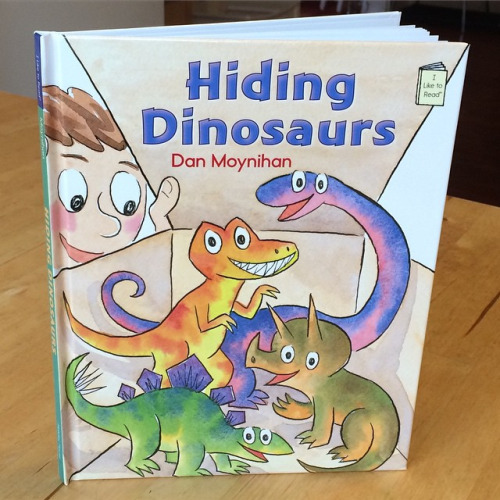 Hiding Dinosaurs - What could be more fun than a houseful of prehistoric pals? When a boy discovers that dinosaurs are emerging from the eggs sitting on the kitchen counter, it's a dream come true. But how will Mom and Dad react?A Massachusetts Center for the Book Must Read Picture Book