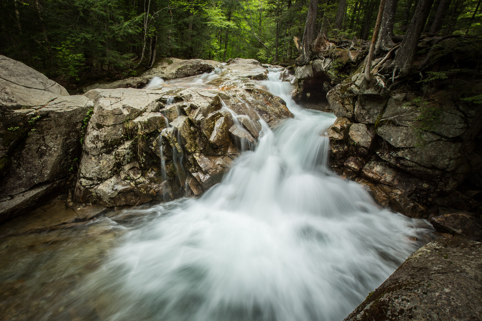 Ling: Waterfall at Franconia State Park, NH - ISO 100, f/22, ss 1/2, focal length 16mm