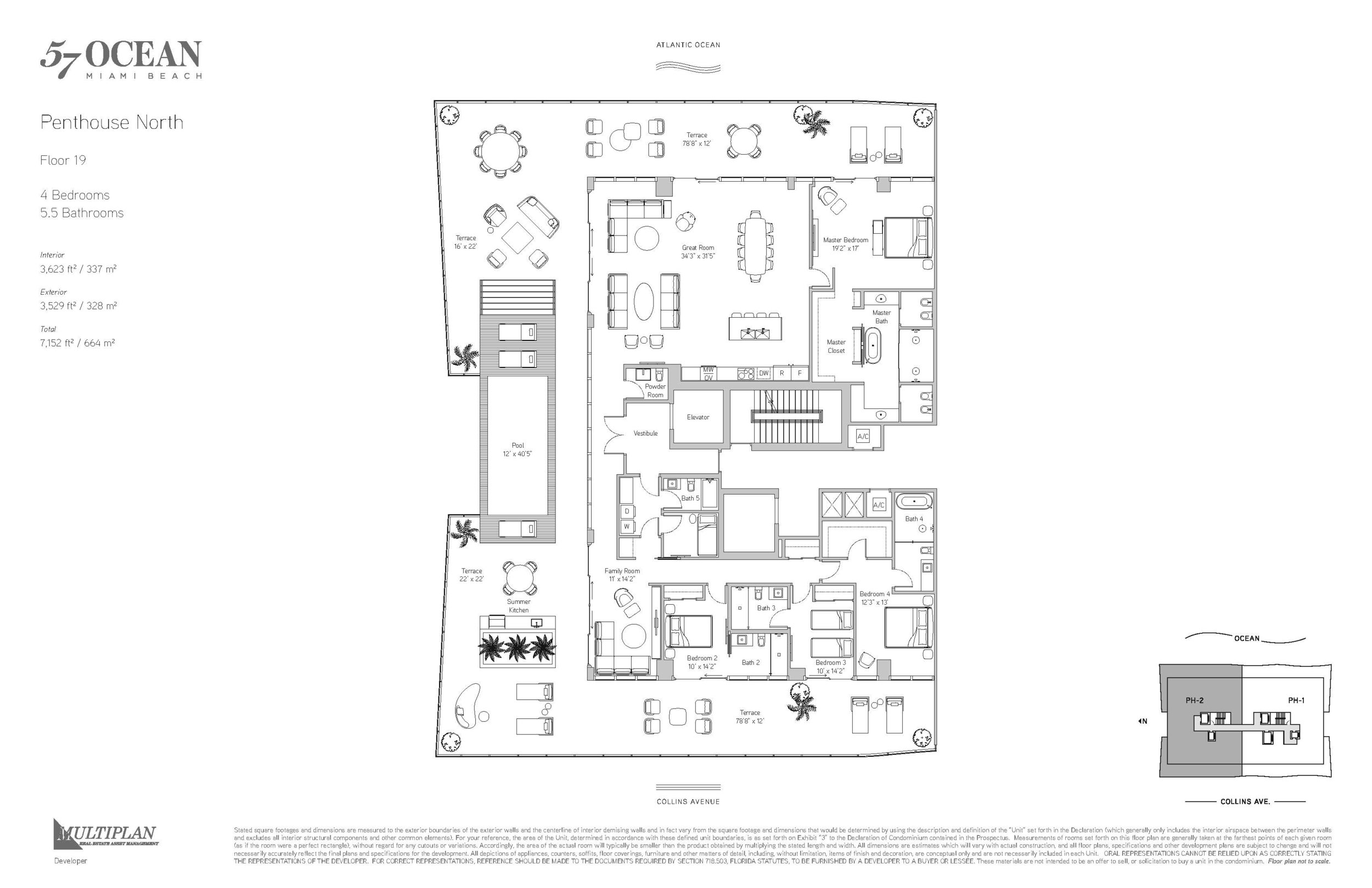 57 Ocean Floor Plans - 4 Bedroom Penthouse North