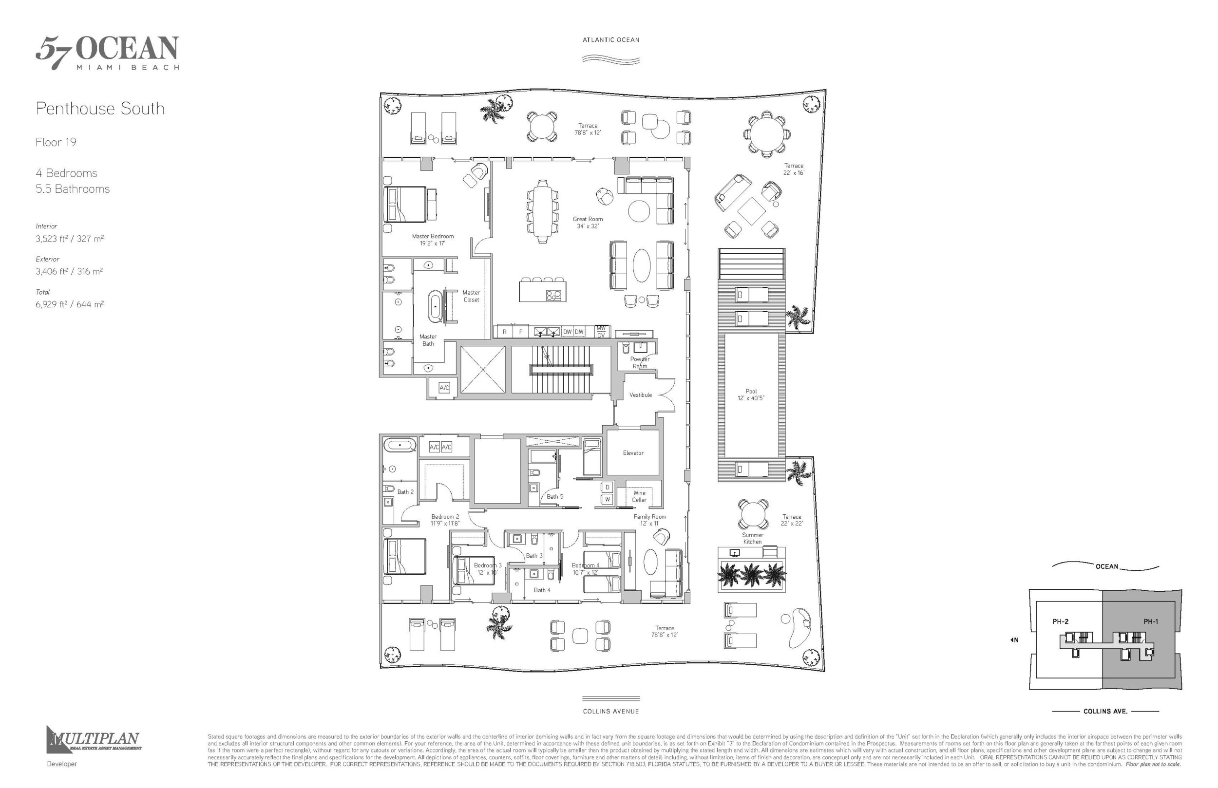 57 Ocean Floor Plans - 4 Bedroom Penthouse South