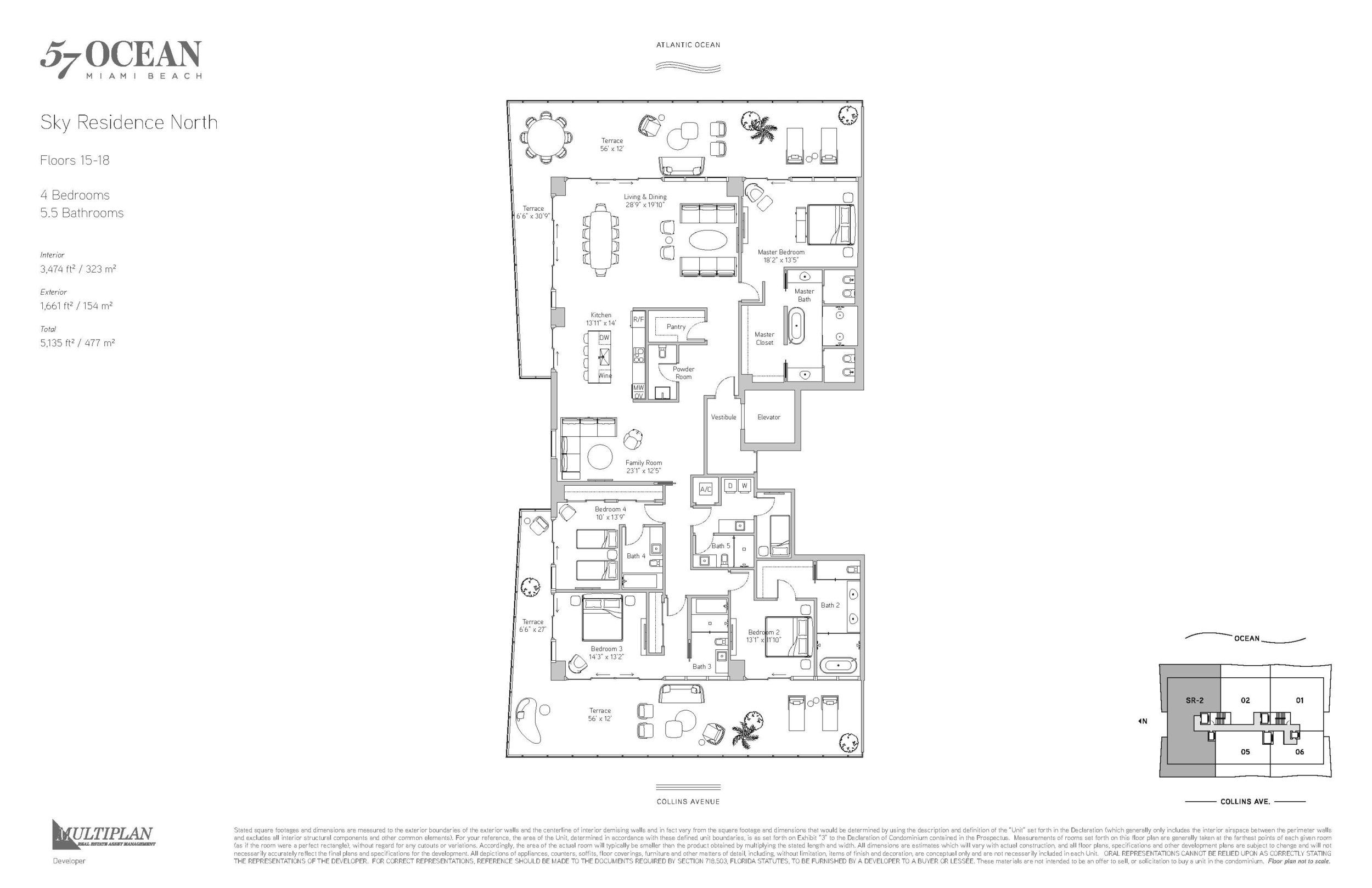 57 Ocean Floor Plans - 4 Bedroom Sky Residence North