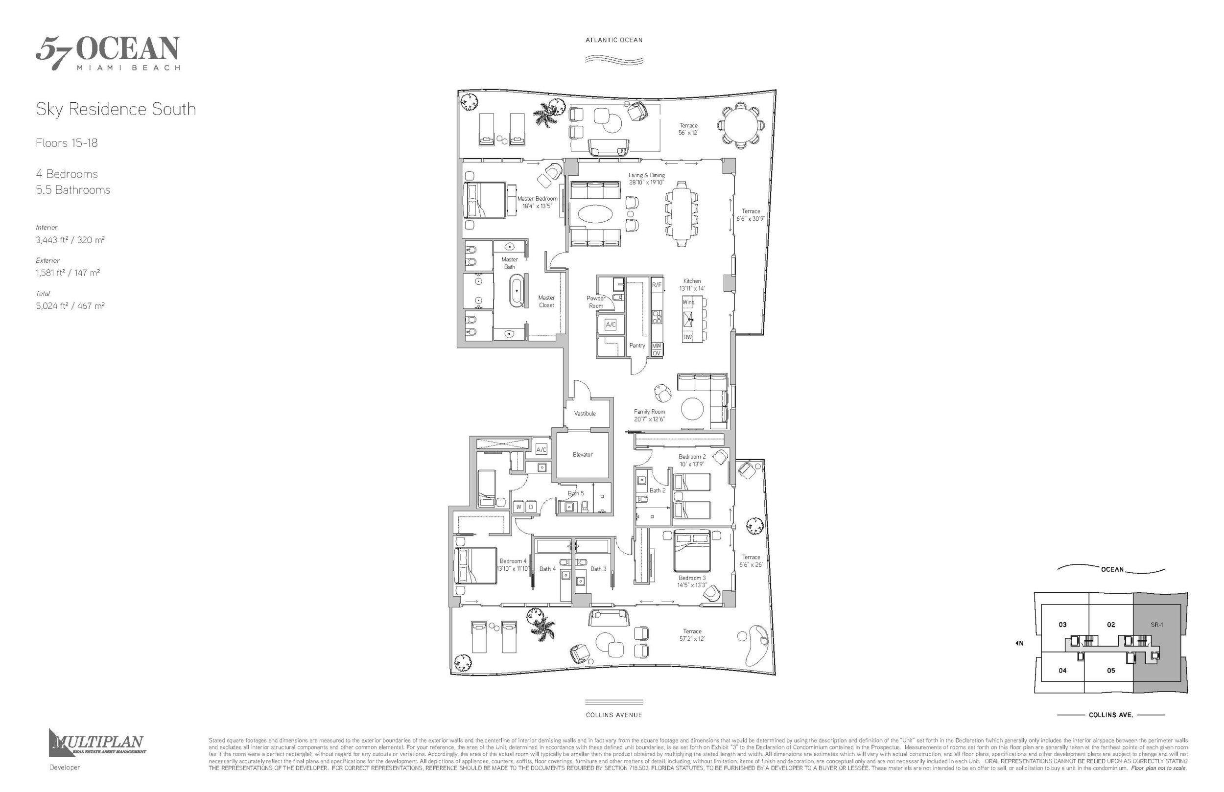 57 Ocean Floor Plans - 4 Bedroom Sky Residence South