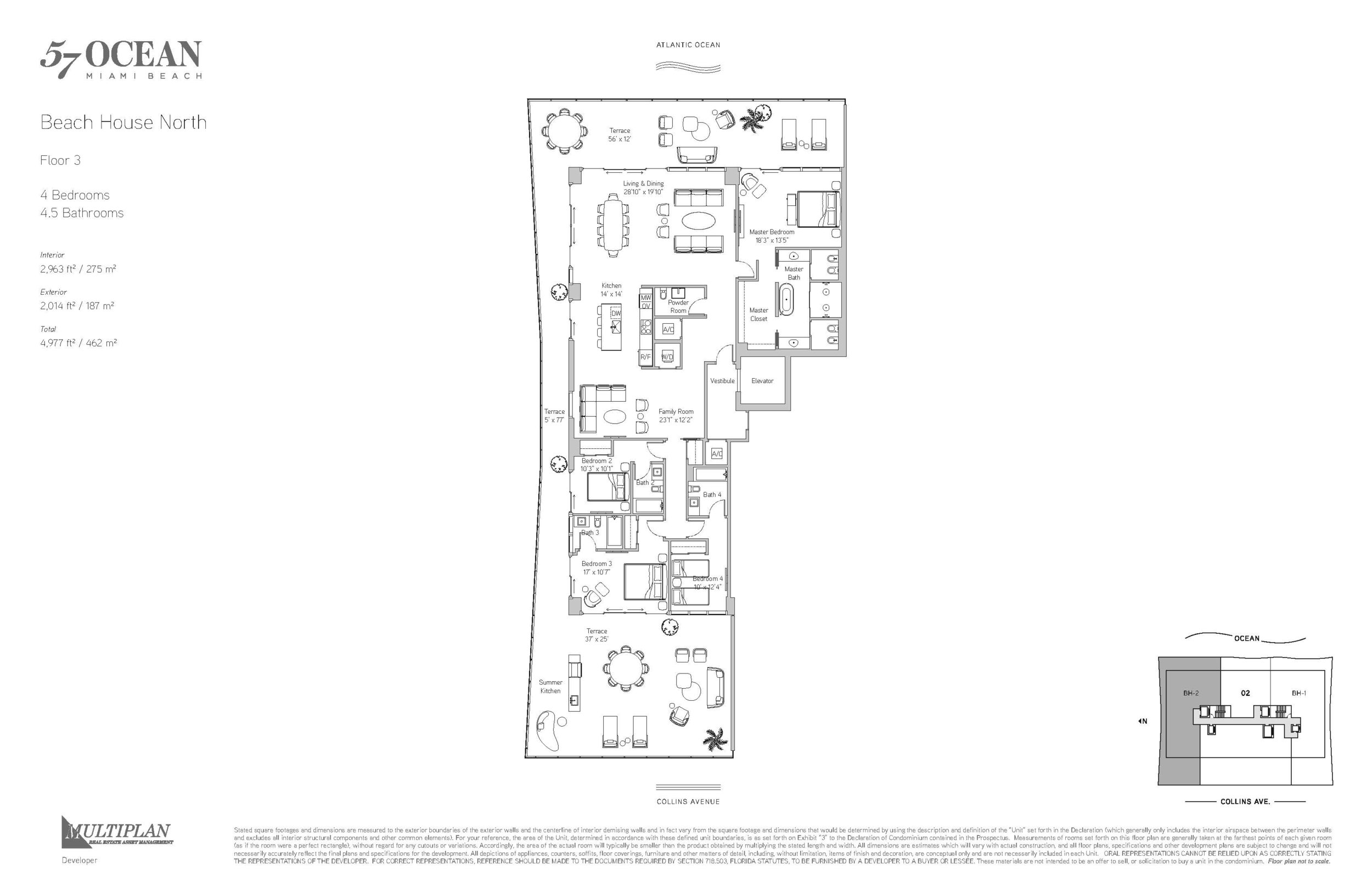 57 Ocean Floor Plans - 4 Bedroom Beach House North