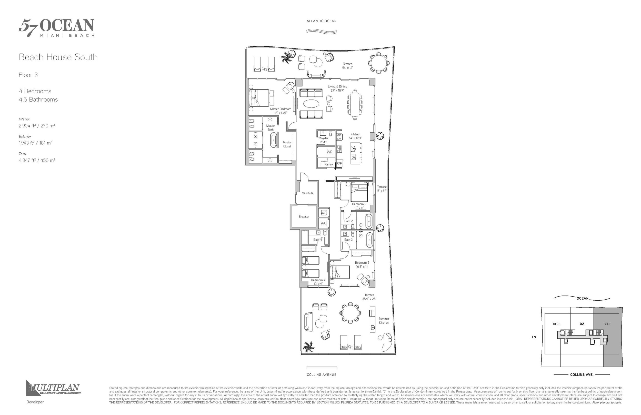 57 Ocean Floor Plans - 4 Bedroom Beach House South