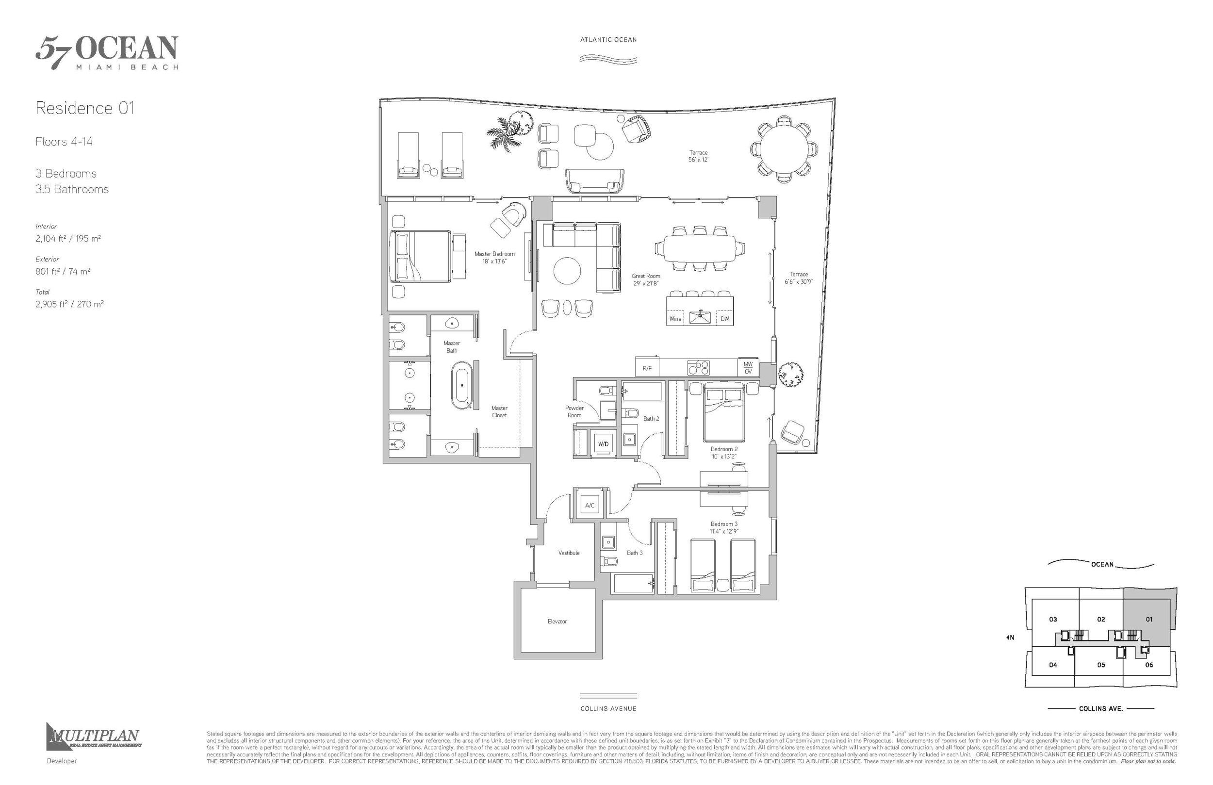 57 Ocean Floor Plans - 3 Bedrooms 01-Line