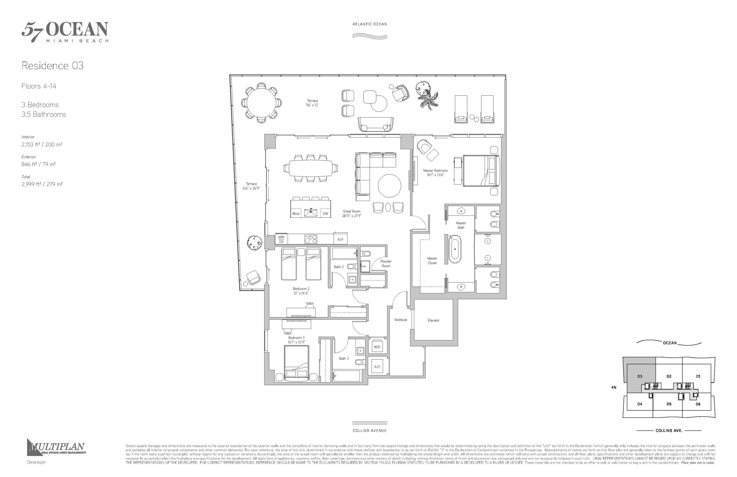 57 Ocean Floor Plans - 3 Bedrooms 03-Line