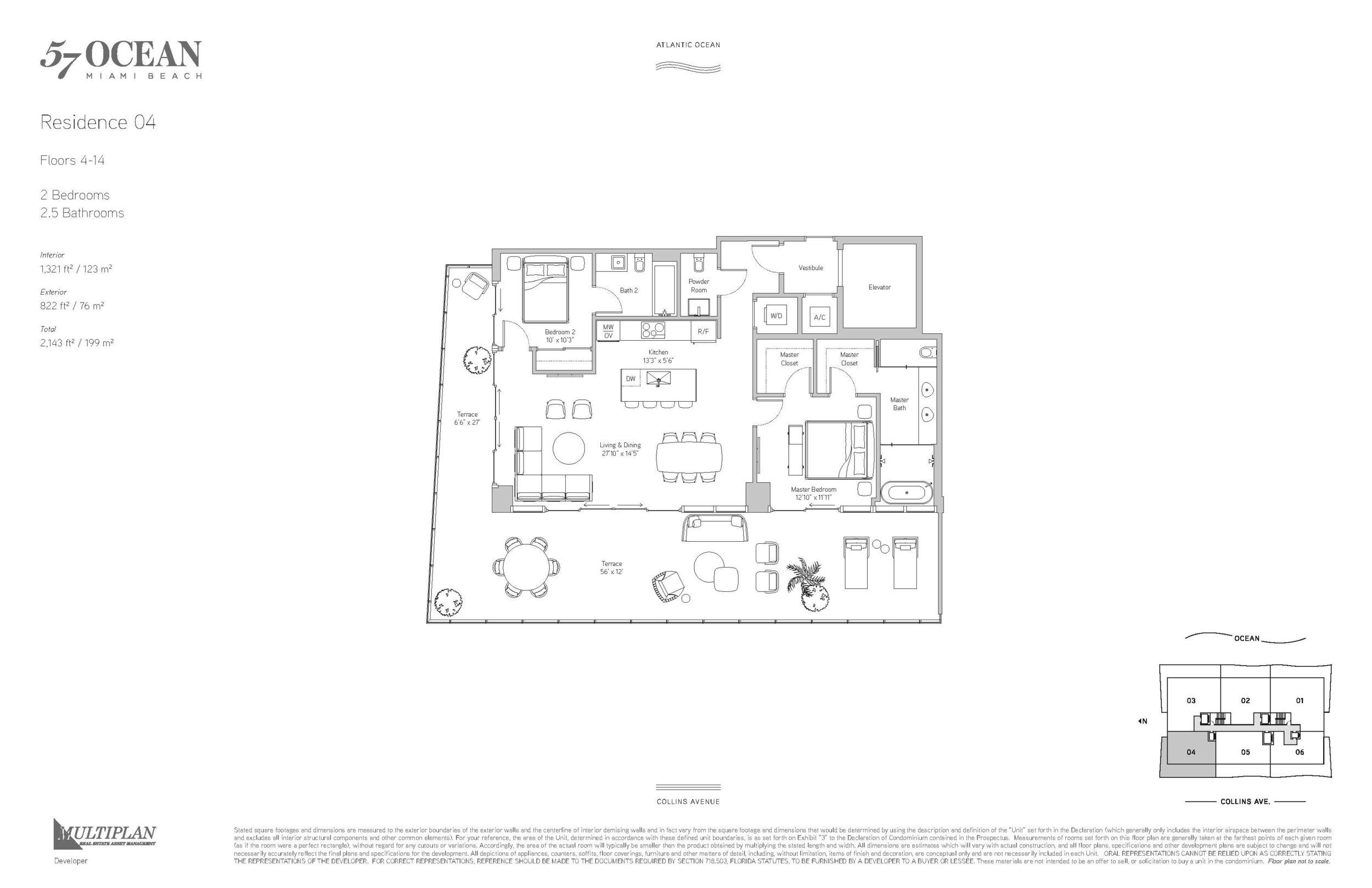 57 Ocean Floor Plans - 2 Bedrooms 04-Line