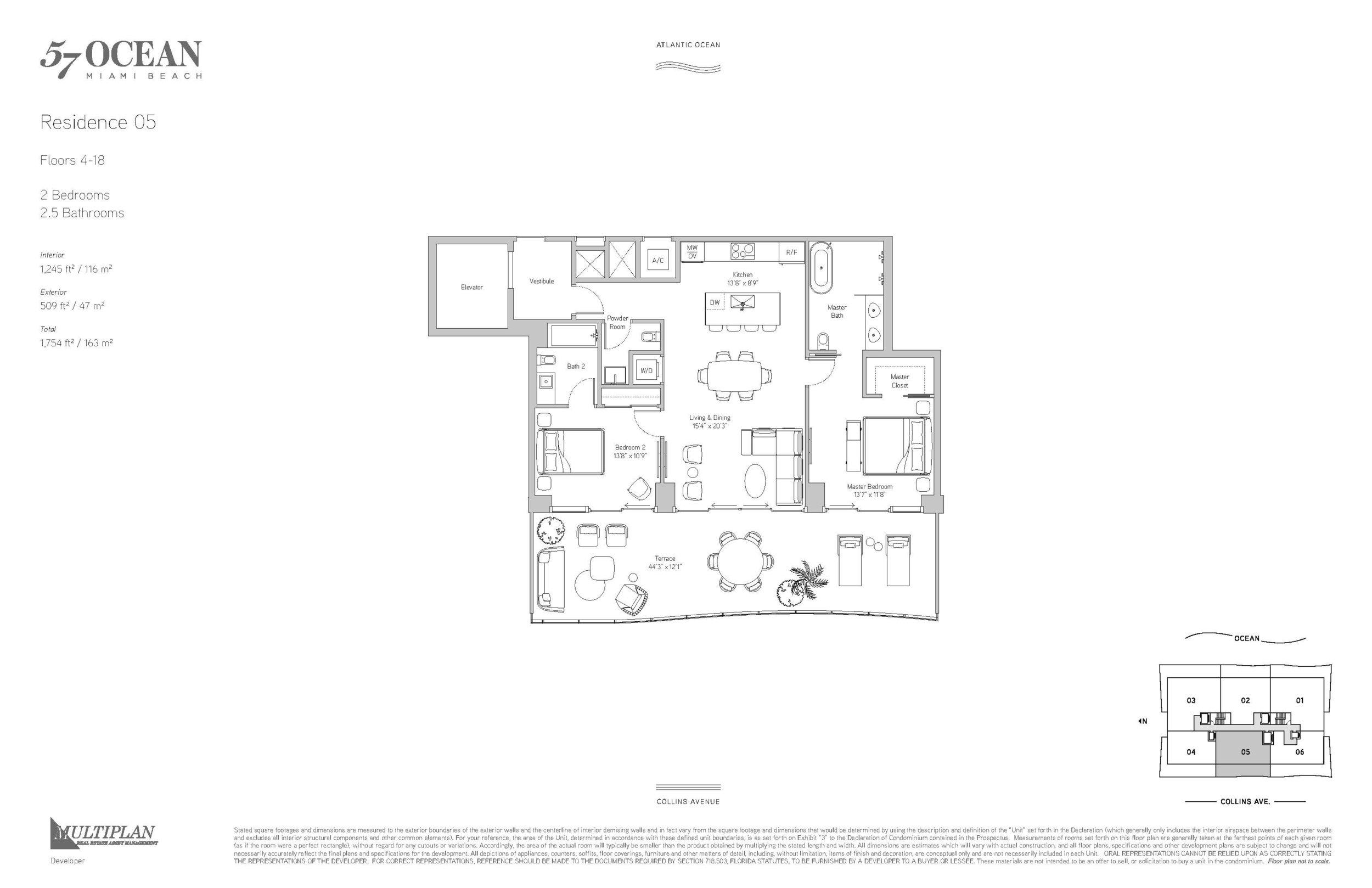 57 Ocean Floor Plans - 2 Bedrooms 05-Line