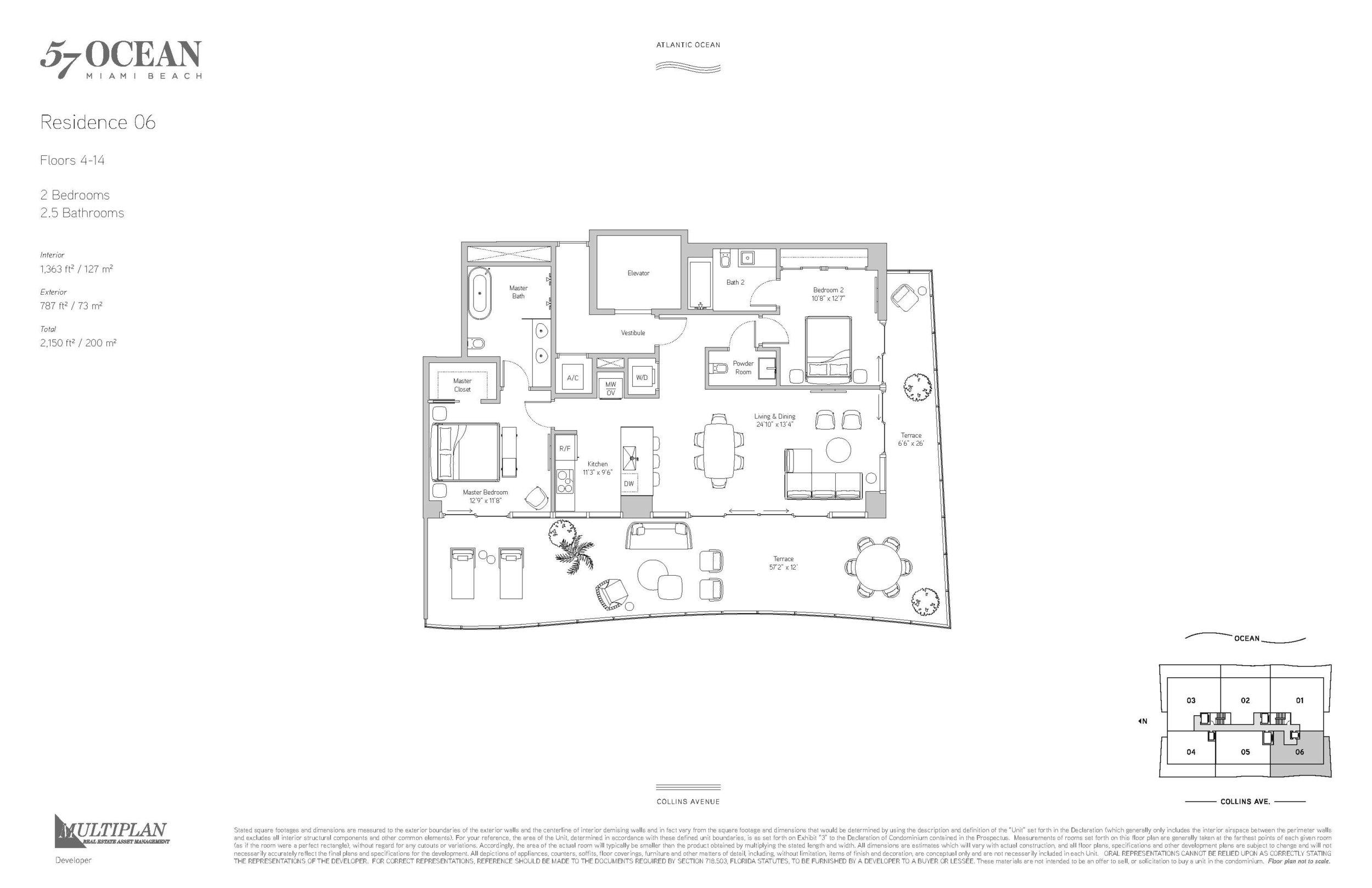57 Ocean Floor Plans - 2 Bedrooms 06-Line