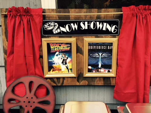 Now Showing Sign - Backyard Movie Night Theme Party