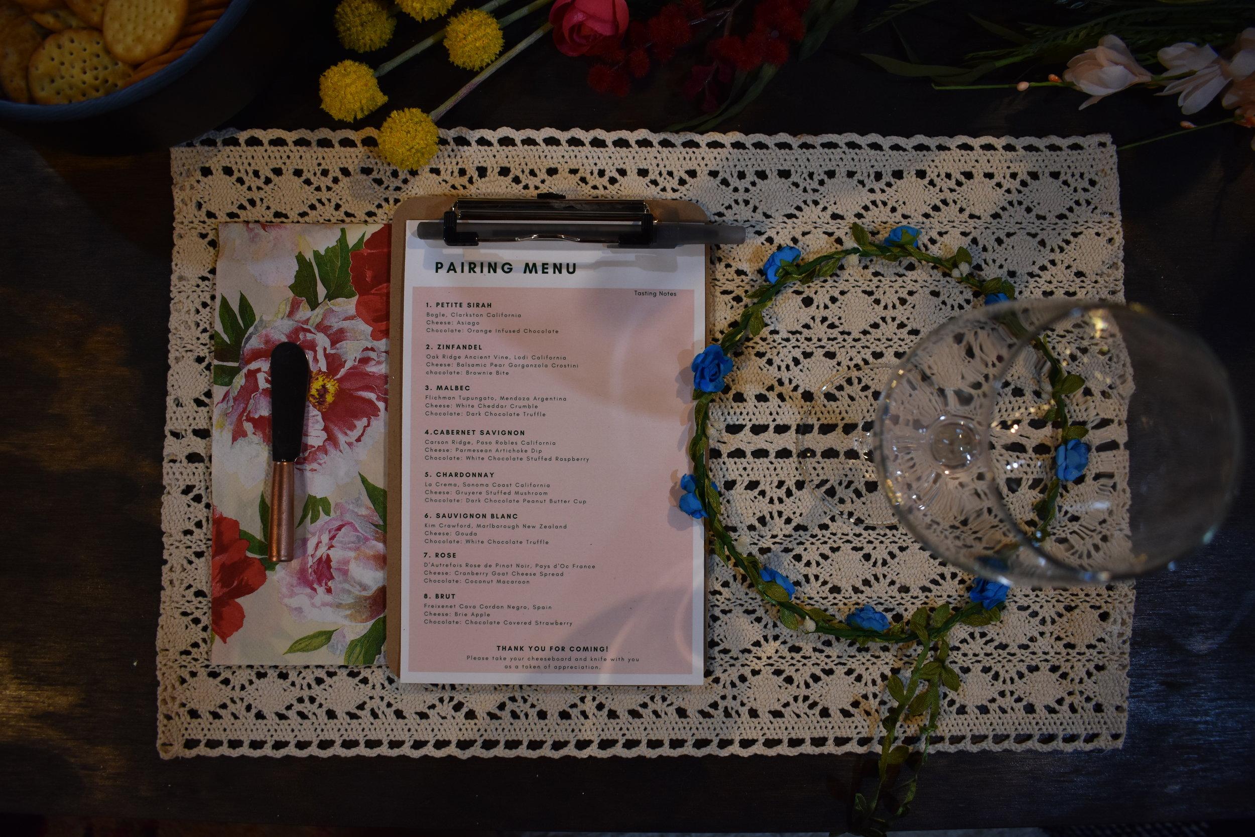 wine paring menu flower crown bridal shower macrame placement boho bridal shower