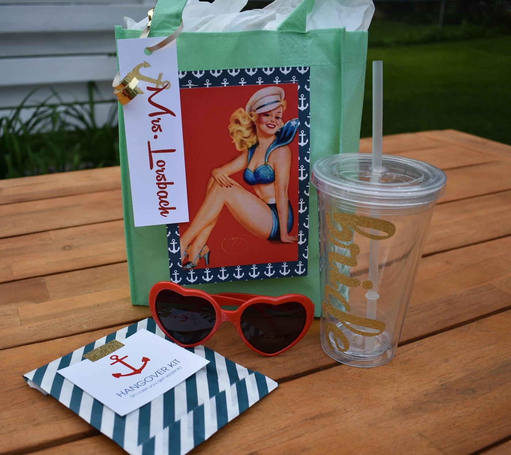 Get Nauti Bachelorette Gift Idea Bride Cup Pinup Girl