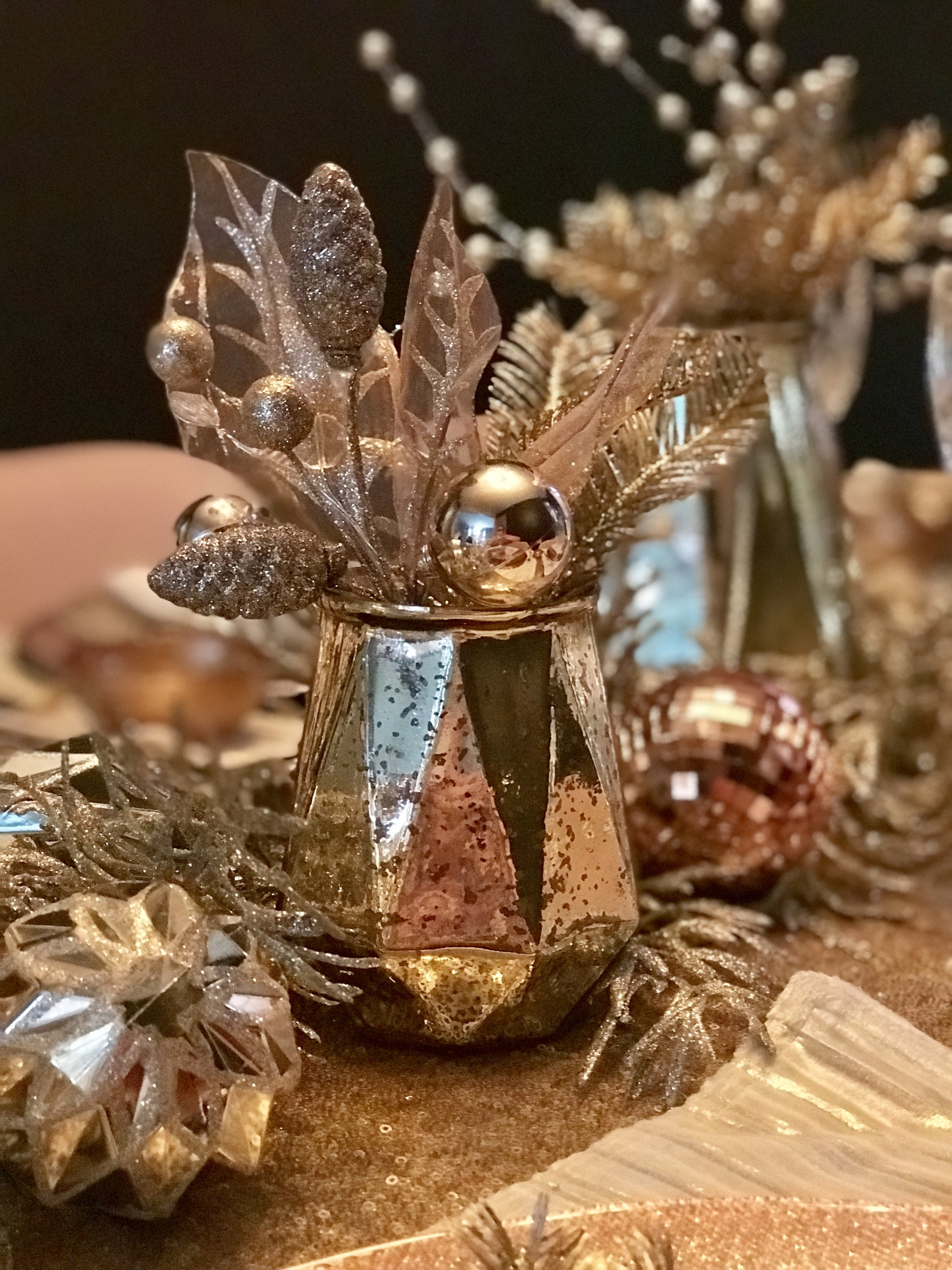 NYE Centerpieces with Floral Picks & Ornaments