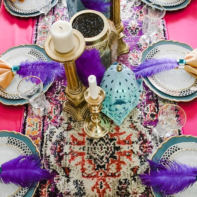 "A couple weeks ago I hosted a little brunch before going to see the new Aladdin live action movie. Who says a group of grown women can't still enjoy a Disney classic in their 30s? The movie was so-so in my opinion but the Aladdin-themed brunch was fun! I dressed the table in a ""magic carpet"" runner and Arabian lanterns. All the bright colors aren't done justice by my mediocre photography skills but you'll have to trust me it was beautiful. • • • #aladdinparty #awholenewworld #arabiannights #arabiannightstheme #arabiannightsparty #moroccantheme #disneypartyideas #disneyprincessparty #disneypartytheme #disneyfans #liveactionaladdin #princessjasmine #princessjasmineparty #kidspartyideas #kidspartytheme"
