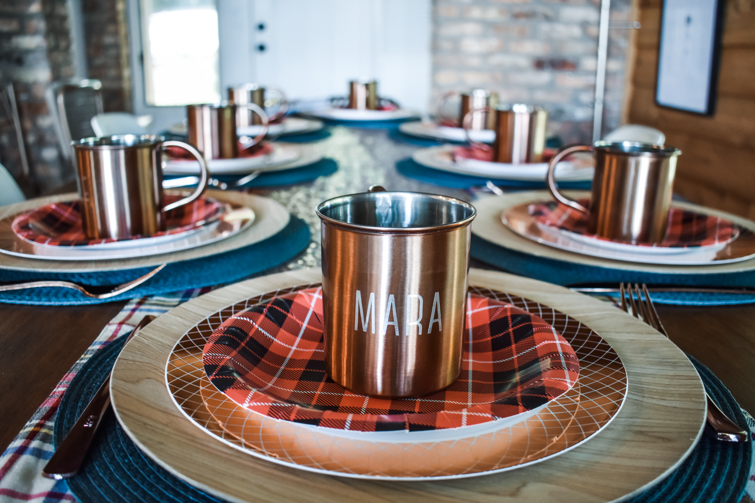 Flannel Fling Place Setting - plaid bridal shower