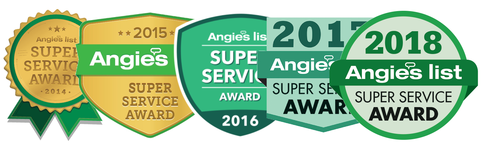 Winner of Angie's List Super Service Award every year since 2012