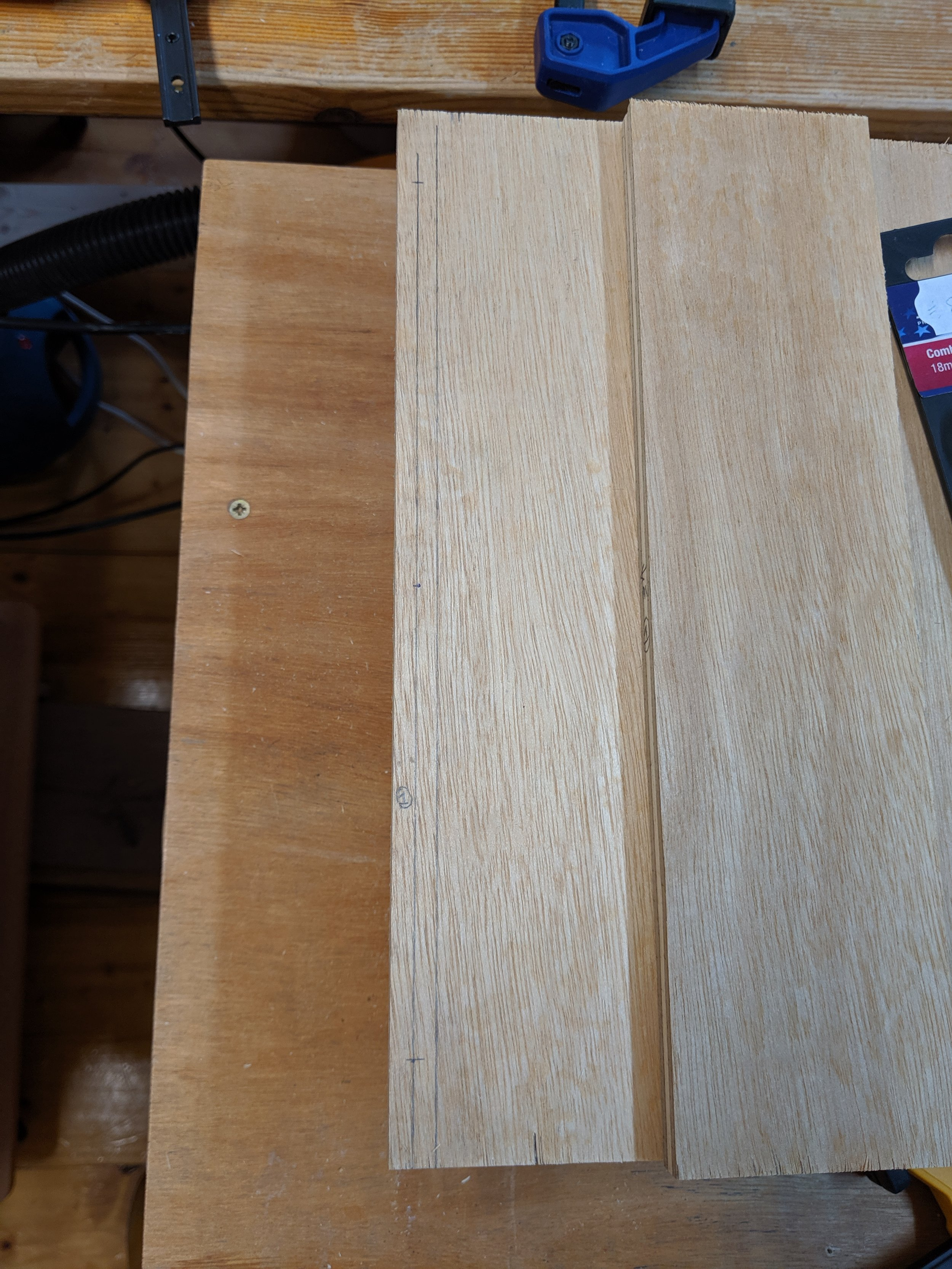 Confirming matching dowel positions in end piece