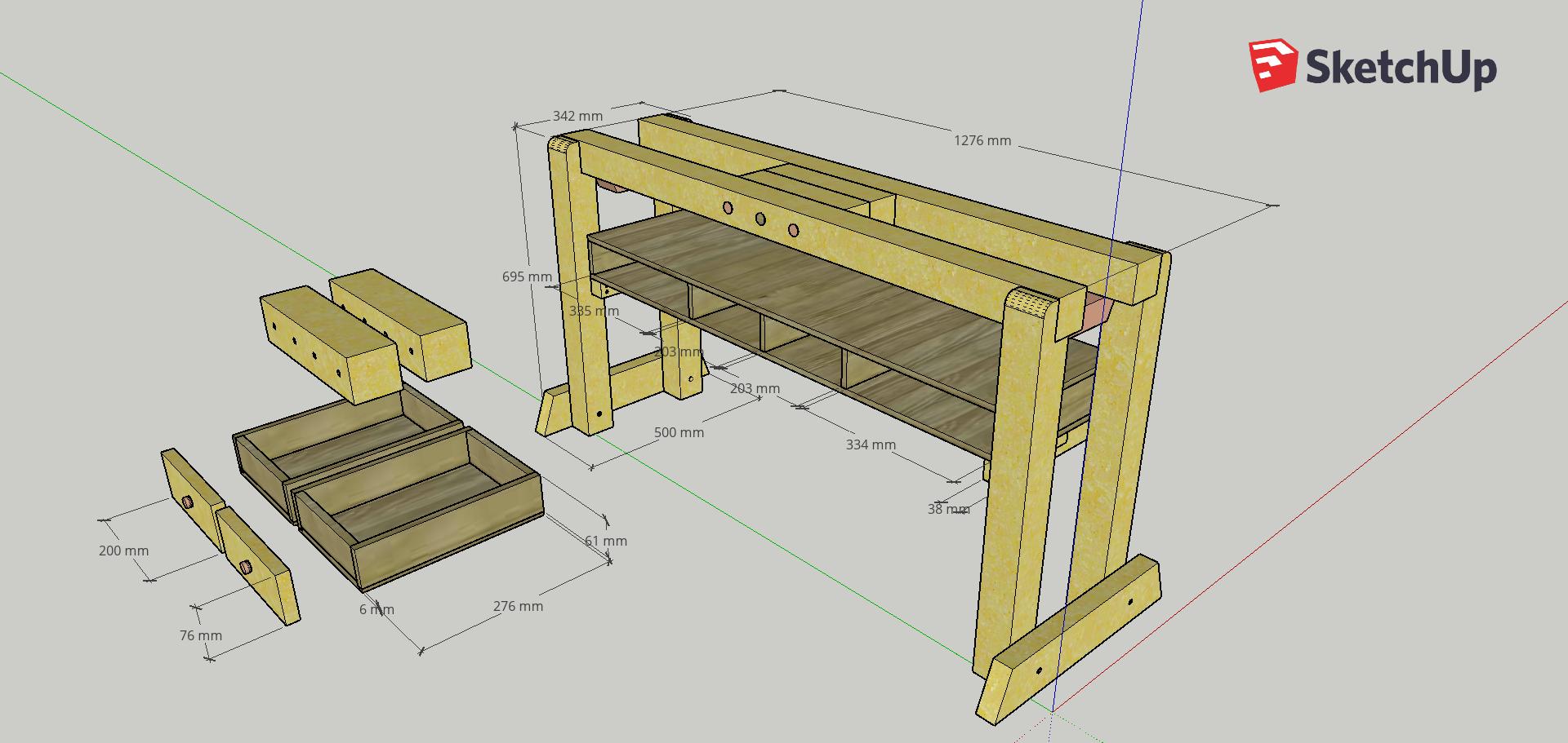 The design I put together in SketchUp.