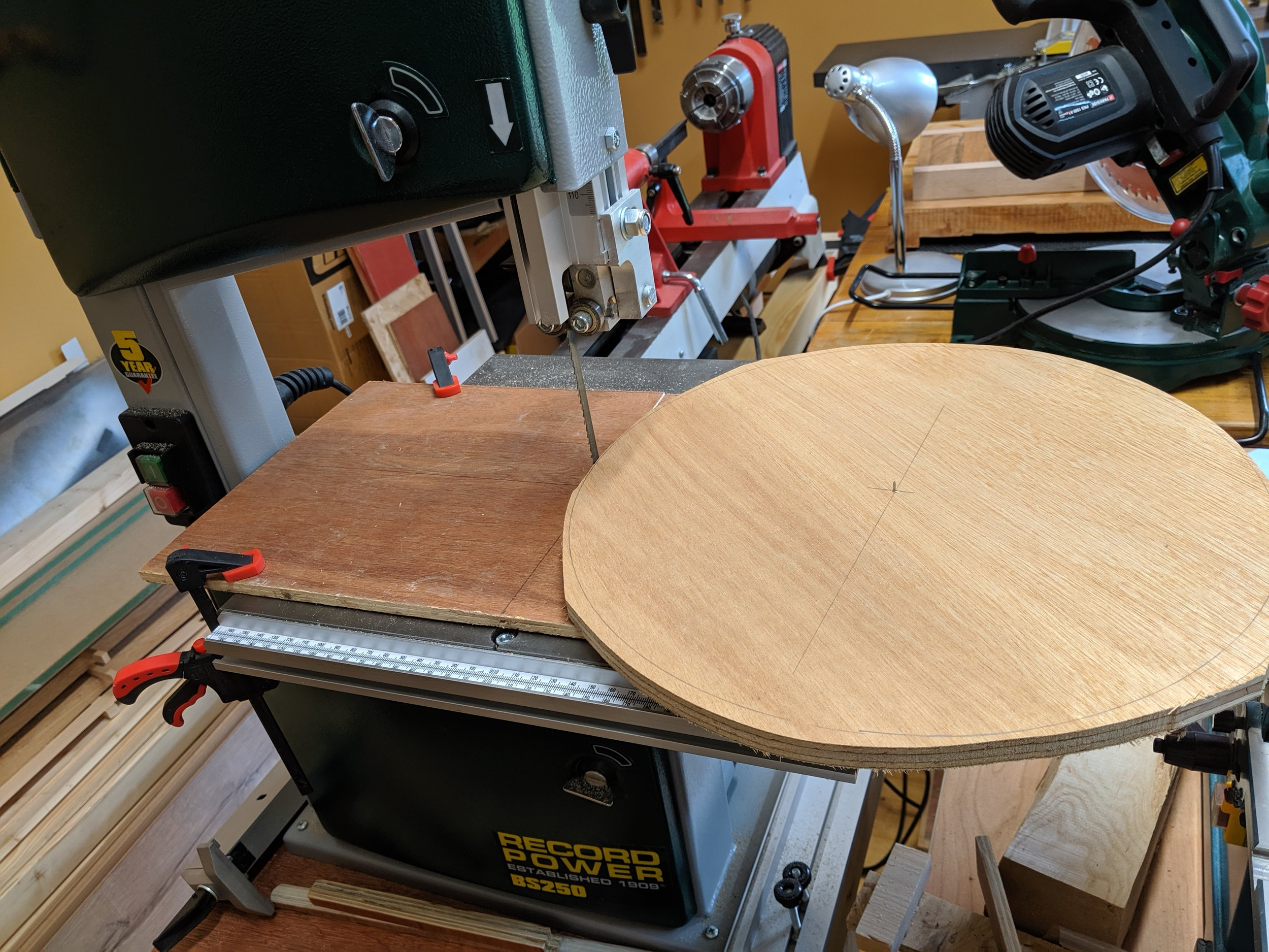 Cutting it out with a bandsaw circle jig