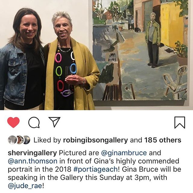 Reposting @shervingallery to let anyone who might be interested to come along at 3pm to the gallery for the artist talks where @Jude Rae and I will chat about our paintings in the current Portia Geach Exhibition! This is me beside my painting with the wonderful @ann.thomson