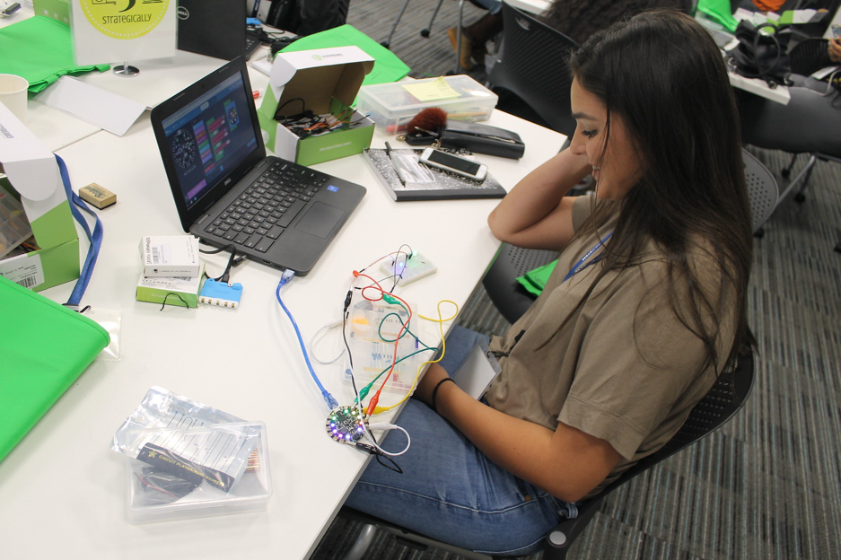 Computing for Health students using circuit boards
