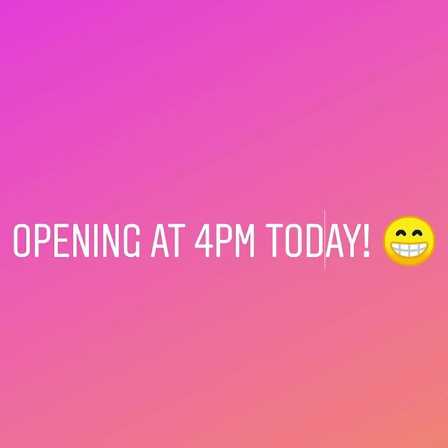 Hey folks! We will be opening at 4pm today. The big 4th of July event yesterday wiped us out and we need to get some prep done to make you some more goodies.