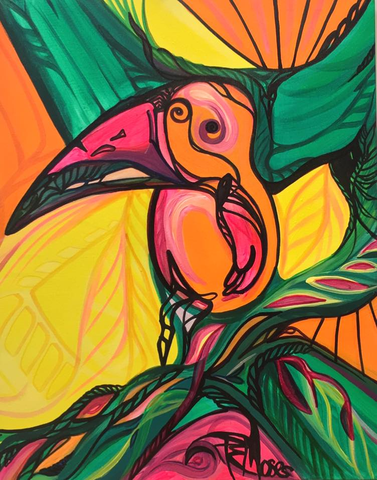 - As a native of Trinidad & Tobago, he recounts his love for tropical flora and fauna which are often expressed in his vibrant and fluid work. Previously bound by the rigid detailing of Architecture, his art enables him to break the rules and to abstract reality.
