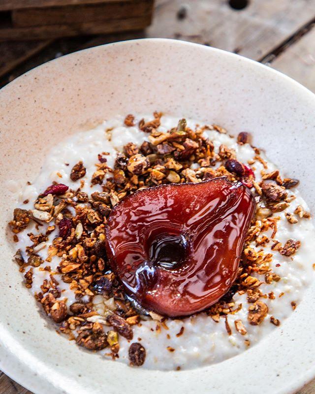 Brown rice porridge, miso, maple ,granola , poached pear. #WinterMenu. . . . .  #sydney #sydneyeats #sydnyelocal #doublebay #easternsuburbs #littlejeandoublebay #breakfast #lunch #dinner #granola #dinner #sydneyfood #afternoon  #breaky
