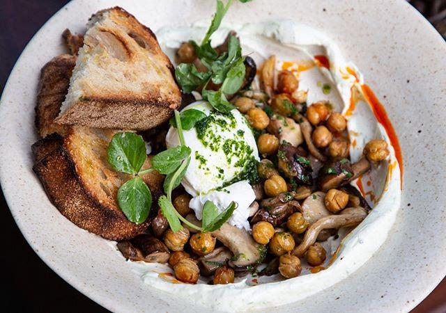 New Dish Alert !! // Forest Mushrooms,  béarnaise yogurt , paprika oil , chickpea , chimchuri , sourdough, soft egg.. . . . .  #sydney #sydneyeats #sydnyelocal #doublebay #easternsuburbs #littlejeandoublebay #breakfast #lunch #dinner #granola #dinner #sydneyfood #afternoon  #breaky